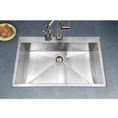 Bellus Zero Radius Topmount Large Single Bowl Kitchen Sink, Stainless Steel, 33''W x 22''D x 9''H
