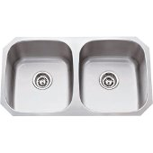 32-1/4'' Wide Double Bowl 16 Gauge 304 Stainless Steel 50/50 Kitchen Sink with Two Equal Bowls, 32-1/4'' W x 18-1/2'' D x 9'' H