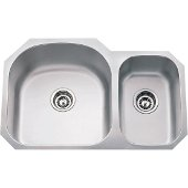 32-1/2'' Wide Double Bowl 18 Gauge 304 Stainless Steel 70/30 Kitchen Sink with Left Large Bowl and Right Small Bowl, 31-1/2'' W x 20-1/2'' D x 9'' H