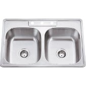 33'' Wide Double Bowl 20 Gauge 304 Stainless Steel Drop In Kitchen Sink with Two Equal Bowls, 33'' W x 22'' D x 9'' H