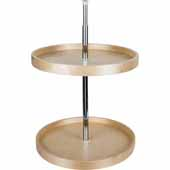 28'' Diameter Round Banded 2-Shelf Wooden Lazy Susan Set with Twist and Lock Adjustable Pole
