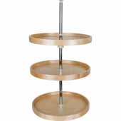 20'' Diameter Round Banded 3-Shelf Wooden Lazy Susan Set with Twist and Lock Adjustable Pole