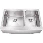 35-7/8'' Wide Double Bowl 16 Gauge 304 Stainless Steel Fabricated Farmhouse Kitchen Sink, 35-7/8'' W x 20-3/4'' D x 10'' H
