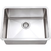 23'' Wide 16 Gauge 304 Stainless Steel Fabricated Kitchen Sink, 23'' W x 18'' D x 10-3/8'' H