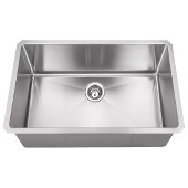 32'' Wide 16 Gauge 304 Stainless Steel Fabricated Kitchen Sink, Bowl Measurements: 30'' W x 17'' W x 10'' H, 32'' W x 19'' D x 10-3/8'' H