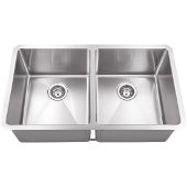 32'' Wide Double Bowl 16 Gauge 304 Stainless Steel Fabricated Kitchen Sink, Bowl Measurements: 14-1/2'' W x 17'' D x 10'' H, 32'' W x 19'' D x 10-3/8'' H