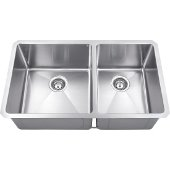 32'' Wide Double Bowl 16 Gauge 304 Stainless Steel Fabricated Kitchen Sink with Left Large Bowl and Right Small Bowl, 32'' W x 19'' D x 10-3/8'' H