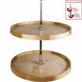 28'' Diameter Round 2- Shelf Wooden Lazy Susan Set with Twist and Lock Adjustable Pole