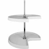 32'' Diameter Kidney Shaped 2-Shelf Plastic Lazy Susan Set with Chrome Hubs