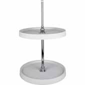 28'' Diameter Round Shaped 2-Shelf Plastic Lazy Susan Set with Chrome Hubs
