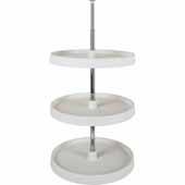 18'' Diameter Round 3-Shelf Plastic Lazy Susan Set with Twist and Lock Adjustable Pole