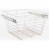 Closet Pullout Basket, Heavy Duty Wire Construction and 100 lb Rated Slides, Chrome, 17''W x 14''D x 11''H