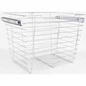 Closet Pullout Basket, Heavy Duty Wire Construction and 100 lb Rated Slides, Chrome, 17''W x 14''D x 17''H