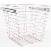 Closet Pullout Basket, Heavy Duty Wire Construction and 100 lb Rated Slides, Satin Nickel, 17''W x 14''D x 17''H