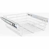 Closet Pullout Basket, Heavy Duty Wire Construction and 100 lb Rated Slides, Chrome, 17''W x 14''D x 6''H