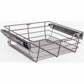 Closet Pullout Basket, Heavy Duty Wire Construction and 100 lb Rated Slides, Dark Bronze, 17''W x 14''D x 6''H