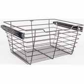 Closet Pullout Basket, Heavy Duty Wire Construction and 100 lb Rated Slides, Dark Bronze, 23''W x 14''D x 11''H