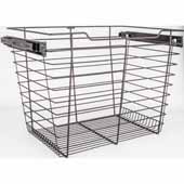 Closet Pullout Basket, Heavy Duty Wire Construction and 100 lb Rated Slides, Dark Bronze, 23''W x 14''D x 17''H