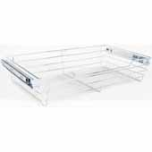 Closet Pullout Basket, Heavy Duty Wire Construction and 100 lb Rated Slides, Chrome, 23''W x 14''D x 6''H