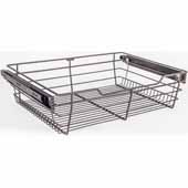 Closet Pullout Basket, Heavy Duty Wire Construction and 100 lb Rated Slides, Dark Bronze, 23''W x 14''D x 6''H
