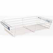 Closet Pullout Basket, Heavy Duty Wire Construction and 100 lb Rated Slides, Satin Nickel, 23''W x 14''D x 6''H