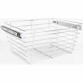 Closet Pullout Basket, Heavy Duty Wire Construction and 100 lb Rated Slides, Chrome, 29''W x 14''D x 11''H