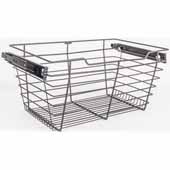 Closet Pullout Basket, Heavy Duty Wire Construction and 100 lb Rated Slides, Dark Bronze, 29''W x 14''D x 11''H