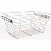 Closet Pullout Basket, Heavy Duty Wire Construction and 100 lb Rated Slides, Satin Nickel, 29''W x 14''D x 11''H
