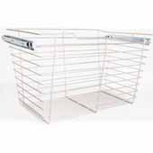 Closet Pullout Basket, Heavy Duty Wire Construction and 100 lb Rated Slides, Satin Nickel, 29''W x 14''D x 17''H