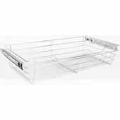 Closet Pullout Basket, Heavy Duty Wire Construction and 100 lb Rated Slides, Satin Nickel, 29''W x 14''D x 6''H