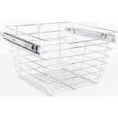 Closet Pullout Basket, Heavy Duty Wire Construction and 100 lb Rated Slides, Chrome, 17''W x 16''D x 11''H
