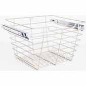 Closet Pullout Basket, Heavy Duty Wire Construction and 100 lb Rated Slides, Satin Nickel, 17''W x 16''D x 11''H