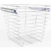 Closet Pullout Basket, Heavy Duty Wire Construction and 100 lb Rated Slides, Chrome, 17''W x 16''D x 17''H