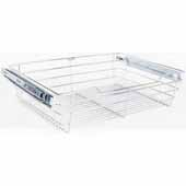 Closet Pullout Basket, Heavy Duty Wire Construction and 100 lb Rated Slides, Chrome, 17''W x 16''D x 6''H