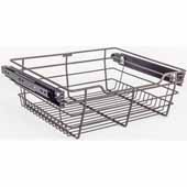 Closet Pullout Basket, Heavy Duty Wire Construction and 100 lb Rated Slides, Dark Bronze, 17''W x 16''D x 6''H