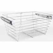 Closet Pullout Basket, Heavy Duty Wire Construction and 100 lb Rated Slides, Chrome, 23''W x 16''D x 11''H