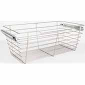 Closet Pullout Basket, Heavy Duty Wire Construction and 100 lb Rated Slides, Satin Nickel, 23''W x 16''D x 11''H