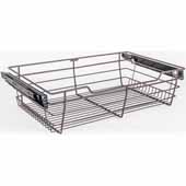 Closet Pullout Basket, Heavy Duty Wire Construction and 100 lb Rated Slides, Dark Bronze, 23''W x 16''D x 6''H
