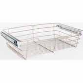 Closet Pullout Basket, Heavy Duty Wire Construction and 100 lb Rated Slides, Satin Nickel, 23''W x 16''D x 6''H