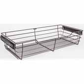 Closet Pullout Basket, Heavy Duty Wire Construction and 100 lb Rated Slides, Dark Bronze, 29''W x 16''D x 6''H