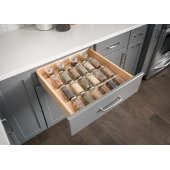 23-1/2'' W Spice Tray Organizer for Drawers, White Birch with UV Coated Finish