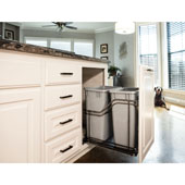Storage with Style™ Double 35 Quart (8.75 Gallon) Metal Trash Pullout, Black Nickel Frame with Grey Cans, Door Mount with Soft-Close Slides, 15''W x 21-13/16''D x 19-13/16''H