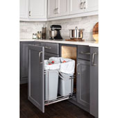 Storage with Style™ Double 35 Quart (8.75 Gallon) Metal Trash Pullout, Polished Chrome Frame with Grey Cans, Door Mount with Soft-Close Slides, 15''W x 21-13/16''D x 19-13/16''H