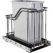 Single 35 Quart (8.75 Gallon) Metal Trash Pullout, Black Nickel Frame with Grey Cans, Door Mount with Soft-Close Slides, 12''W x 21-5/8''D x 19-13/16''H