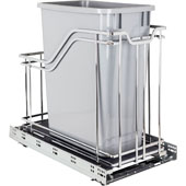 Single 35 Quart (8.75 Gallon) Metal Trash Pullout, Polished Chrome Frame with Grey Cans, Door Mount with Soft-Close Slides, 12''W x 21-5/8''D x 19-13/16''H
