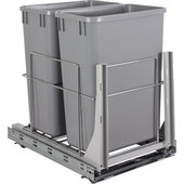 Wire Double 35qt Trash Can Pullout with Soft-close Slides In Polished Chrome, 14-1/4'' W x 21-13/16'' D x 20-11/16'' H