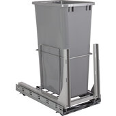 Wire Single 50qt Trash Can Pullout with Soft-close Slides In Polished Chrome, 11-1/2'' W x 21-13/16'' D x 24-13/16'' H