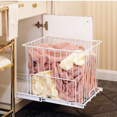 Rev-A-Shelf White Pull-Out Wire Hamper for Laundry or Vanity, Available in Various Sizes