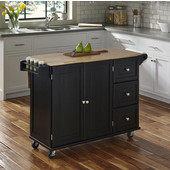 Dolly Madison Liberty Wood Top Kitchen Cart w/ Drop Leaf Breakfast Bar, Two Adjustable Shelves in each Cabinet Door, Three Storage Drawers, Towel Bar and Spice Rack in Black, 53-1/2'' W x 18'' D x 36''H