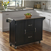 Dolly Madison by  Patriot Stainless Steel Kitchen Cart Top in Black with Two Adjustable Shelves in each Cabinet Door, Two Deep Storage Drawers, Towel Bar, and Spice Rack, 53-1/2''W x 17''D x 36''H